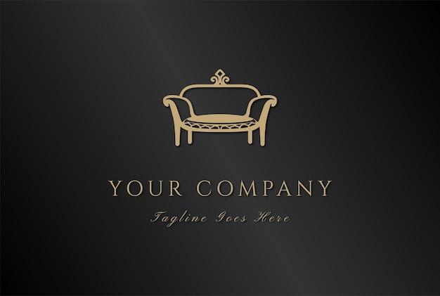 Elegancka luksusowa sofa fotel do mebli wewnętrznych logo design vector