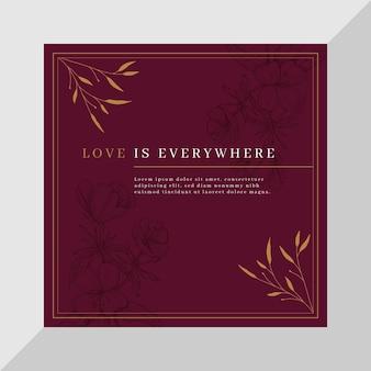 Elegancka miłość kwadratowa karta szablon z kwiatami