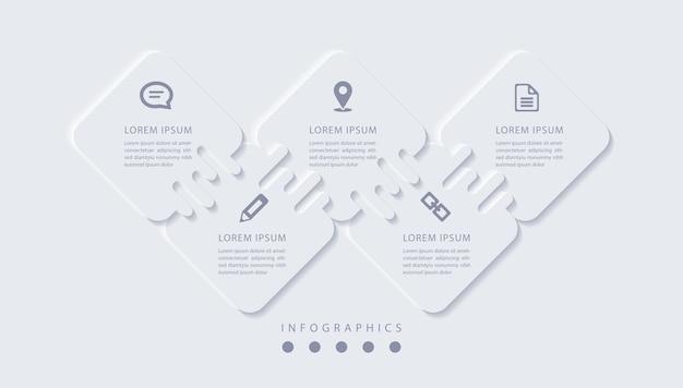 Elegancka minimalistyczna infografika z 5 krokami