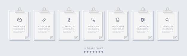 Elegancka minimalistyczna infografika z 7 krokami