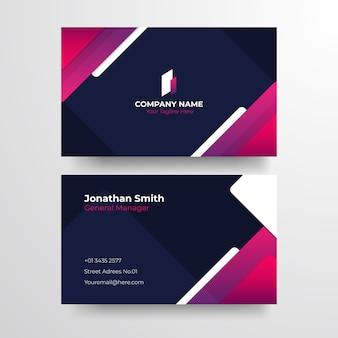 Elegancka niebieska fioletowa wizytówka. elegancka minimalistyczna złota wizytówka.