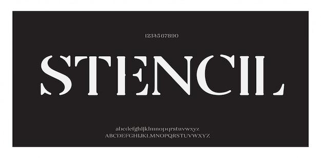 Elegancka, niesamowita czcionka i liczba liter alfabetu. klasyczne litery minimalne wzory mody. czcionki typograficzne zwykłe wielkie i małe litery. ilustracji wektorowych