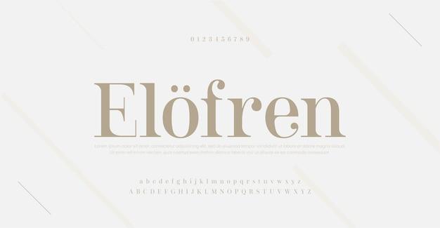 Elegancka, nowoczesna czcionka i liczba liter alfabetu. klasyczny napis minimalistyczne wzory mody. czcionki szeryfowe typografii regularna dekoracyjna koncepcja vintage.