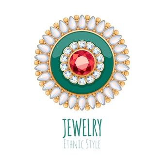 Elegancka ozdoba biżuterii z kamieni szlachetnych. etniczna winieta kwiatowa. dobre dla logo sklepu z biżuterią.