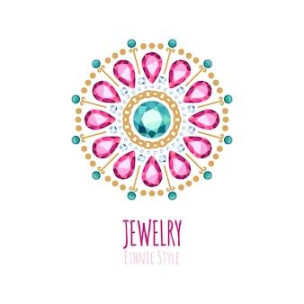 Elegancka ozdoba biżuterii z kamieni szlachetnych. etniczne winiety kwiatowe. dobre dla logo sklepu z biżuterią.