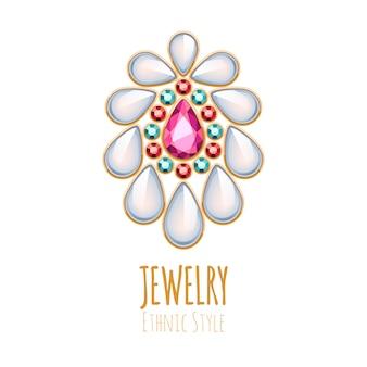 Elegancka ozdoba biżuterii z kamieni szlachetnych. winieta etniczna. dobre dla logo sklepu z biżuterią.