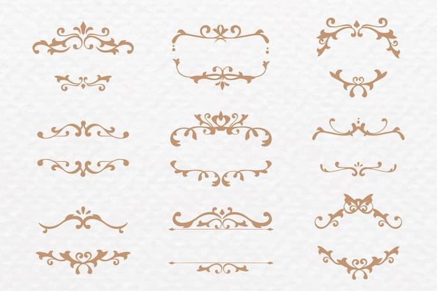 Elegancka ozdobna rama wektorowa kolekcja brązu