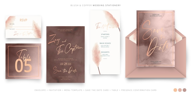 Elegancka papeteria ślubna w kolorze różu i miedzi