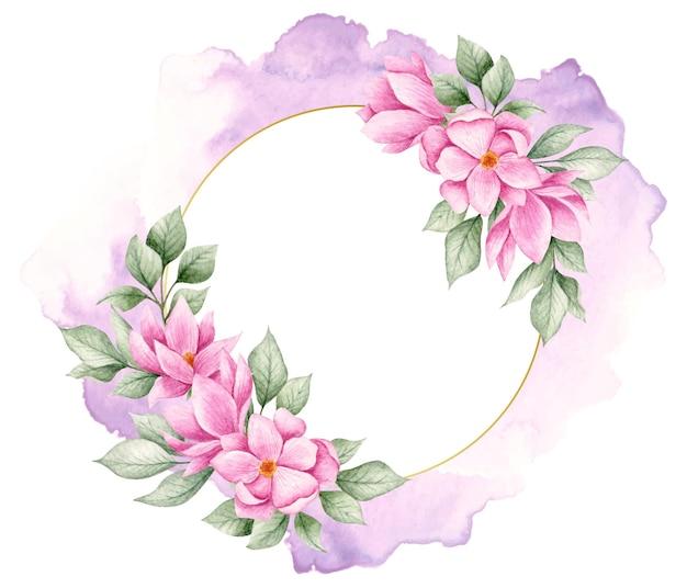 Elegancka piękna akwarela kwiatowy rama