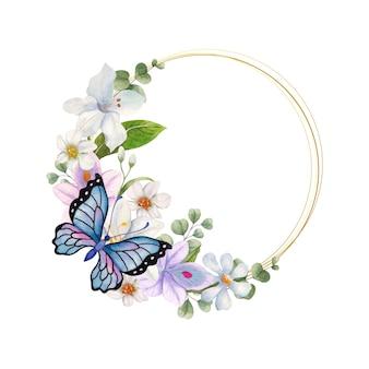 Elegancka piękna akwarelowa kwiecista ramka z motylem