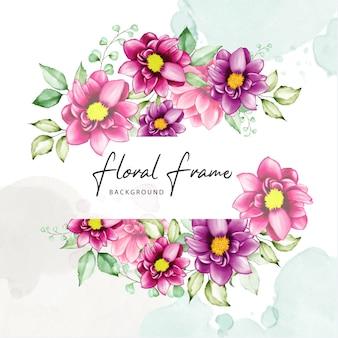 Elegancka rama kwiatowa z kwiatami akwareli