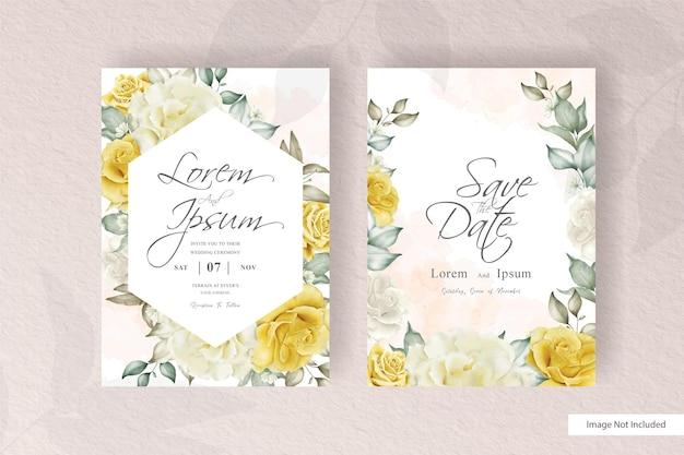 Elegancka rama kwiatowy zaproszenie na ślub karty szablon projektu