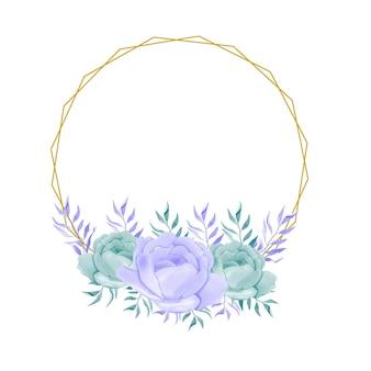 Elegancka rama ślubna w stylu vintage akwarela kwiatowy kwiat