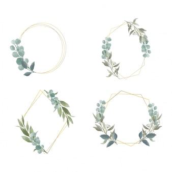 Elegancka rama z liśćmi w stylu przypominającym akwarele