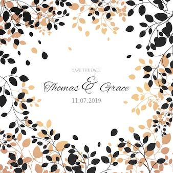 Elegancka ramka kwiatowy na zaproszenie na ślub