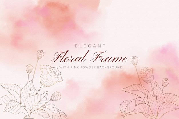 Elegancka ramka kwiatu z różowym tle proszku