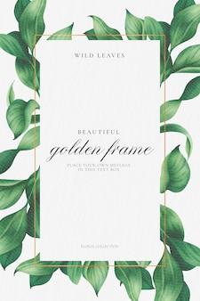 Elegancka ramka w kwiaty z pięknymi liśćmi