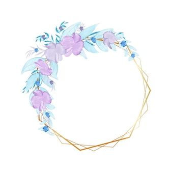 Elegancka ręcznie malowana urocza akwarelowa ramka w kwiaty