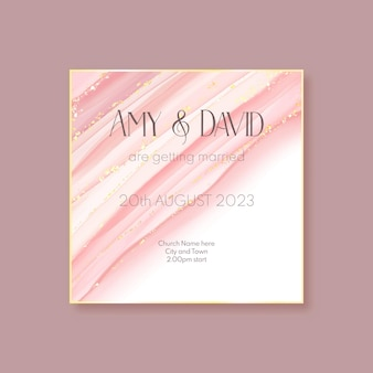 Elegancka, ręcznie malowana złota i różowa karta zaproszenie na ślub