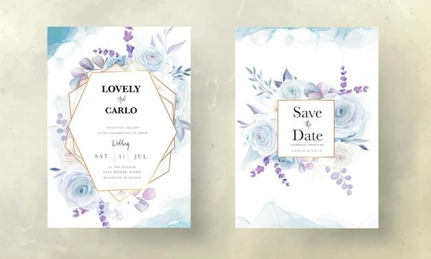 Elegancka, ręcznie rysowana, lodowo-niebieska, kwiatowa karta zaproszenie na ślub