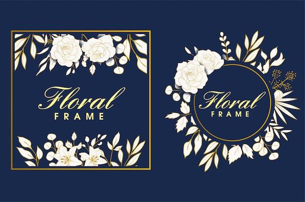 Elegancka ręcznie rysowana ramka w kwiaty