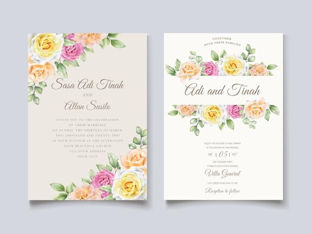 Elegancka ręcznie rysowane karta kwiatowy ślub