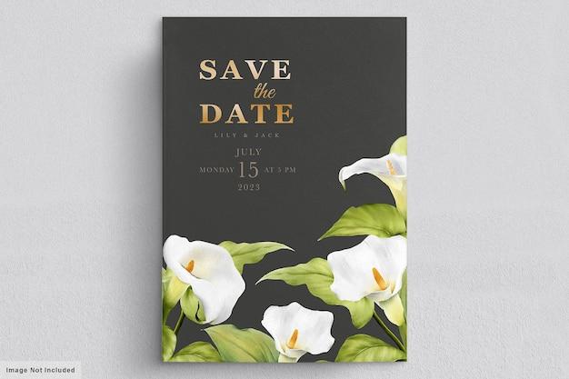 Elegancka ręcznie rysowane lilia zaproszenie karta