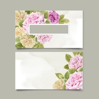 Elegancka ręka rysunek wizytówka kwiatowy wzór