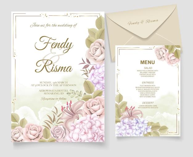 Elegancka ręka rysunek zaproszenie na ślub kwiatowy wzór