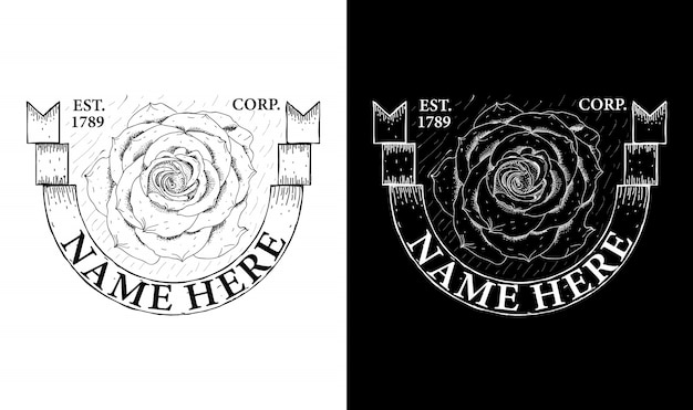 Elegancka róża vintage retro odznaka etykieta emblemat logo inspiracja