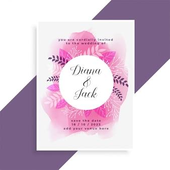 Elegancka różowa akwarela i pozostawia projekt karty ślub