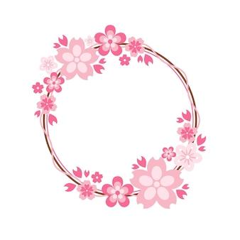 Elegancka różowa ramka sakura