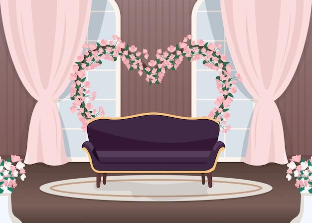 Elegancka ślubna strefa fotograficzna płaski kolor ilustracji
