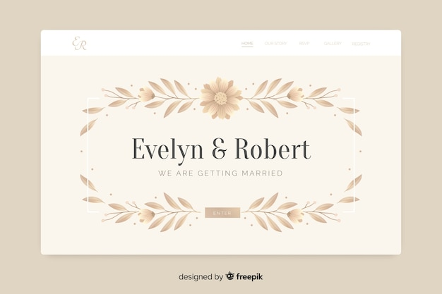 Elegancka ślubna strona docelowa z liśćmi