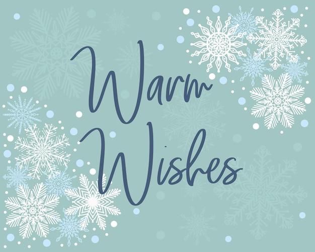 Elegancka świąteczna kartka z życzeniami ciepłe życzenia na nowy rok szablon z ręcznie rysowanymi ikonami płatków śniegu