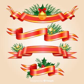 Elegancka, świąteczna kolekcja czerwonych i złotych wstążek