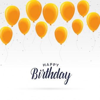 Elegancka szczęśliwa kartka urodzinowa ze złotymi balonami
