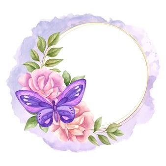 Elegancka urocza akwarela kwiecista ramka z fioletowym motylem na kartkę z życzeniami