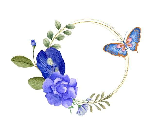 Elegancka urocza akwarelowa kwiecista ramka z motylem