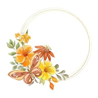 Elegancka urocza akwarelowa kwiecista ramka z pięknym motylem
