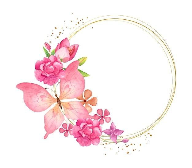 Elegancka urocza akwarelowa ramka w kwiaty z różowym motylem