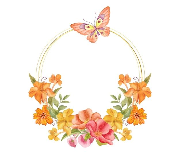 Elegancka urocza akwarelowa wiosenna kwiecista ramka z uroczym motylem