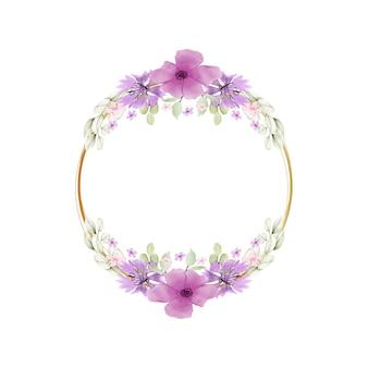 Elegancka urocza różowa kolorowa ramka w kwiaty