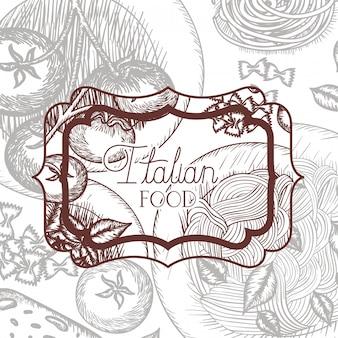 Elegancka wiktoriańska rama z włoskim jedzeniem