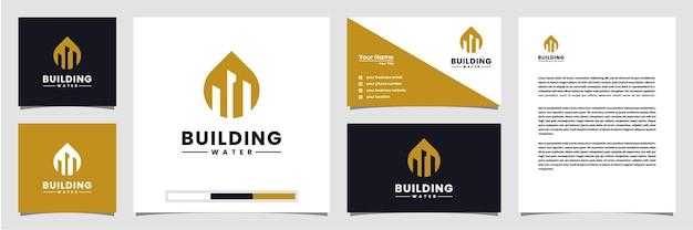 Elegancka wizytówka i papier firmowy z logo budynku