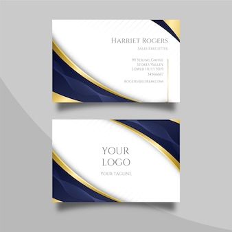Elegancka wizytówka ze złotymi liniami
