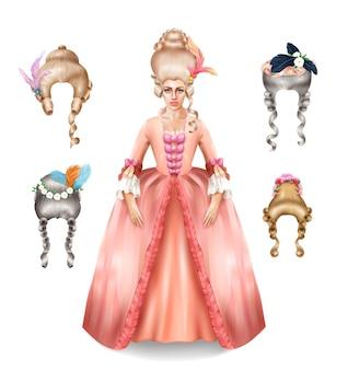 Elegancka xviii-wieczna kobieta z kolekcją peruk rokoko stylizowanych kolorowymi piórami, kwiatami realistyczną ilustracją obrazu