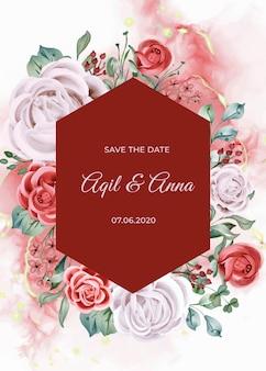 Elegancka zaręczynowa róża akwarela zaproszenia ślubne szablon karty