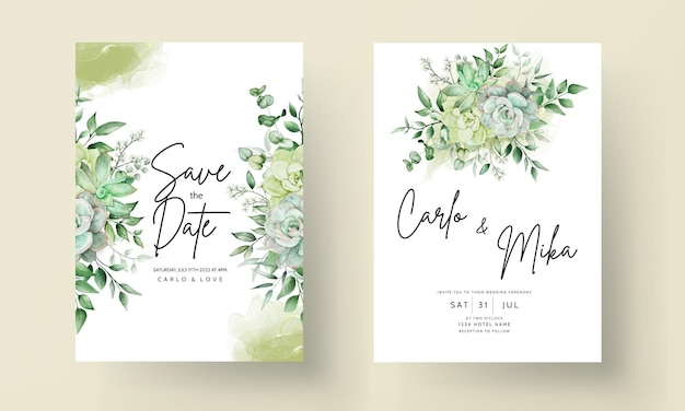 Elegancka zieleń akwarela kwiatowy karta zaproszenie na ślub
