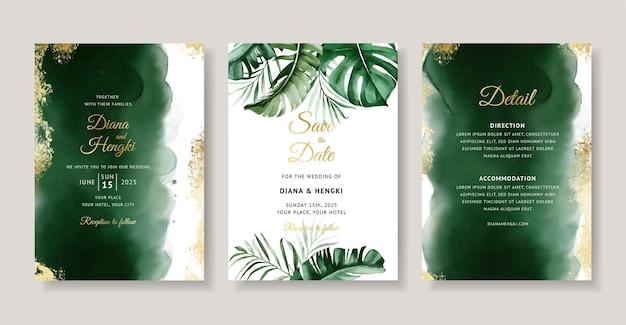 Elegancka zielona tropikalna akwarela zaproszenie na ślub